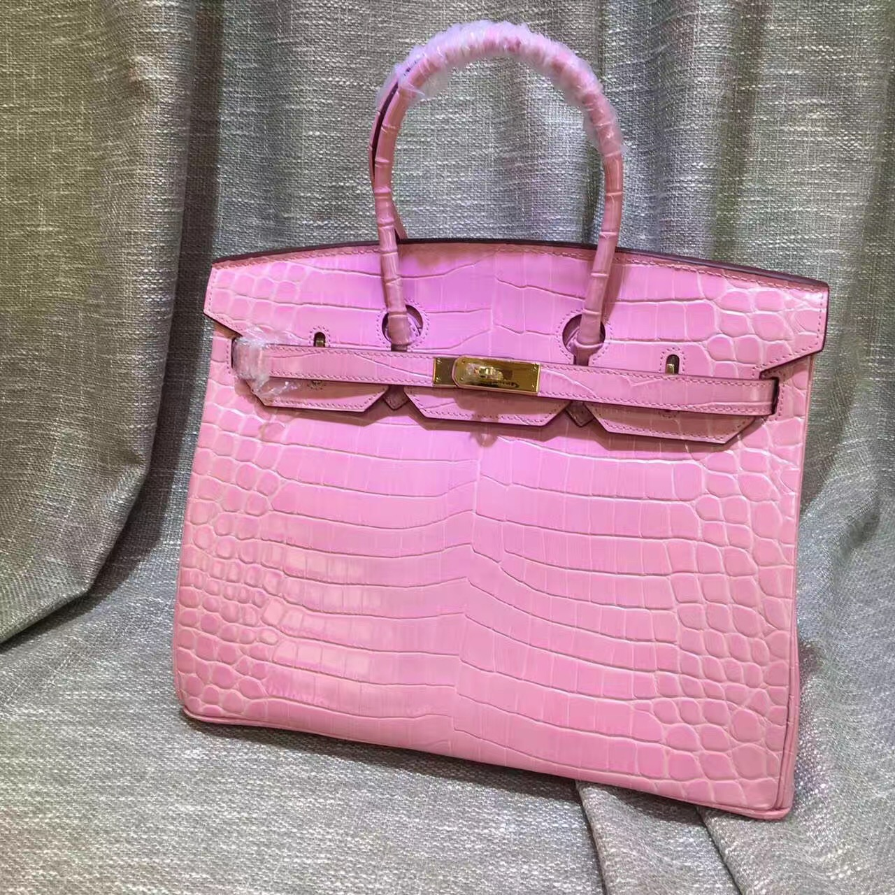 4fab8be8bf Hermes Birkin 35cm Handbag Crocodile Leather Pink Gold  RH0326 ...