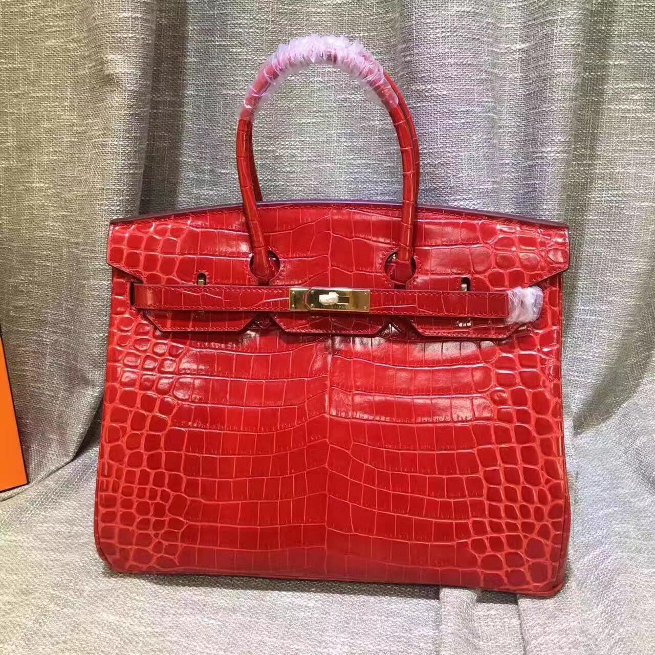 4a3ad31abdc8 Hermes Birkin 35cm Handbag Crocodile Leather Red Gold