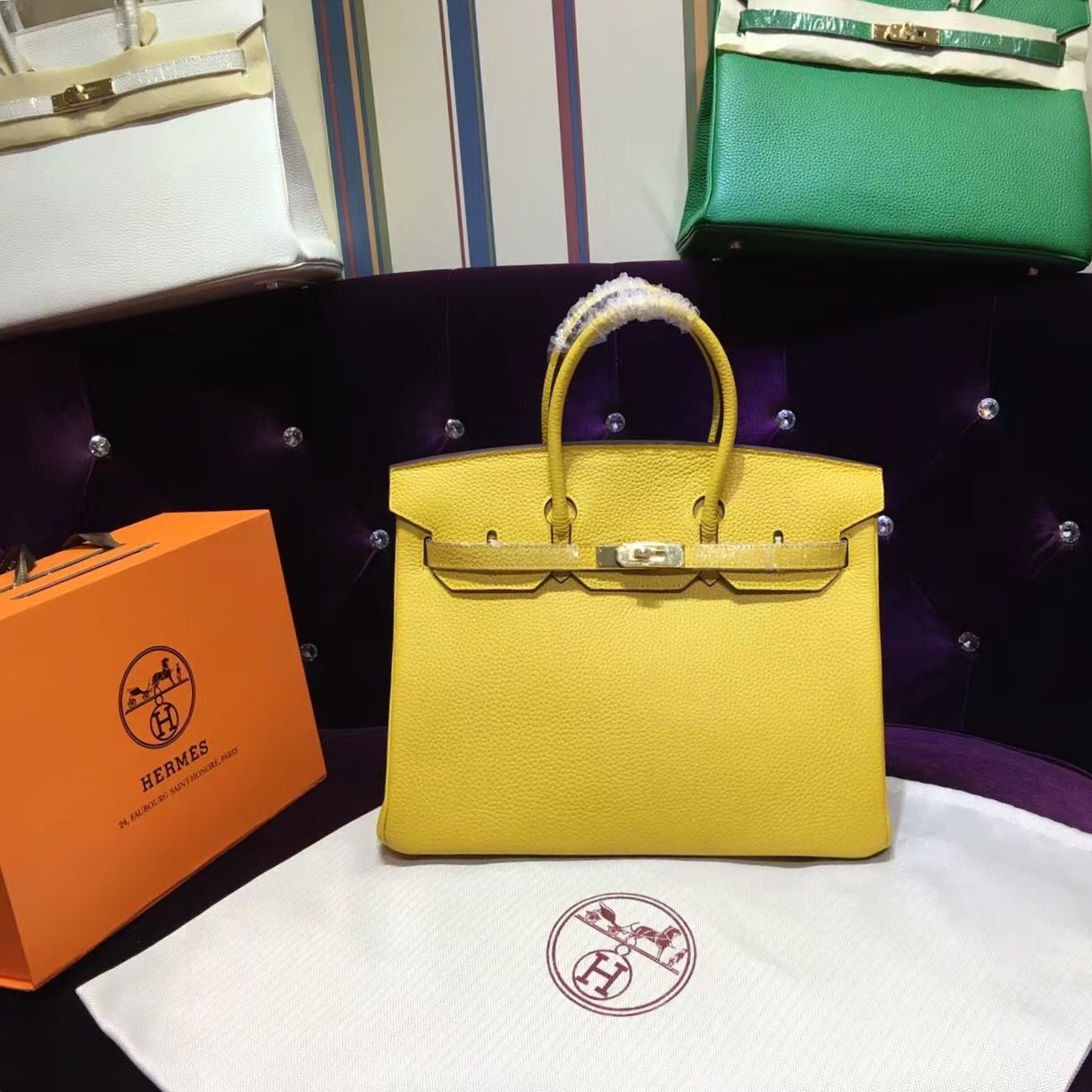 Hermes Birkin 35cm Togo Leather Handbag Yellow Gold