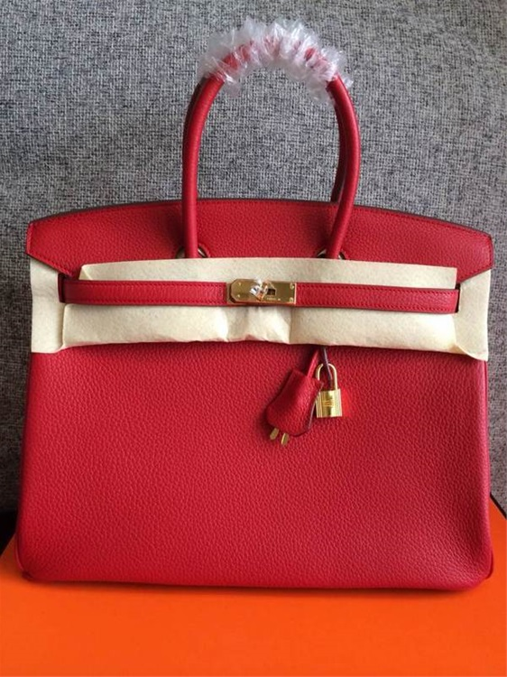 Hermes Birkin 35cm Togo leather Handbags red Golden