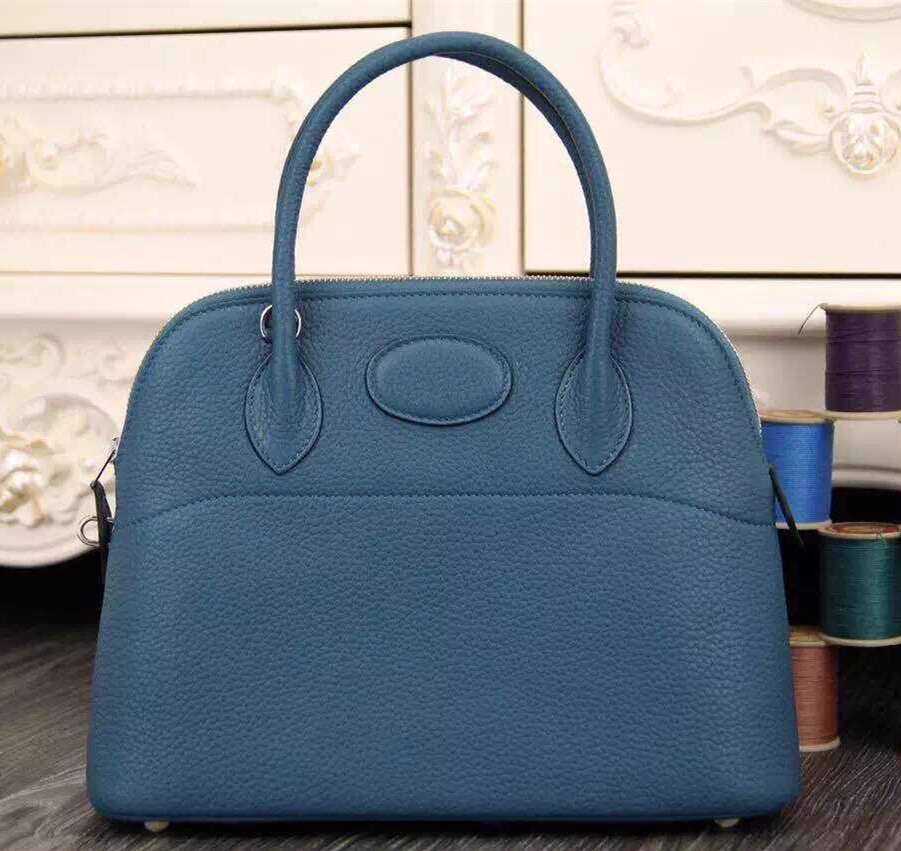 Hermes Bolide 31cm Togo Leather Blue Bag