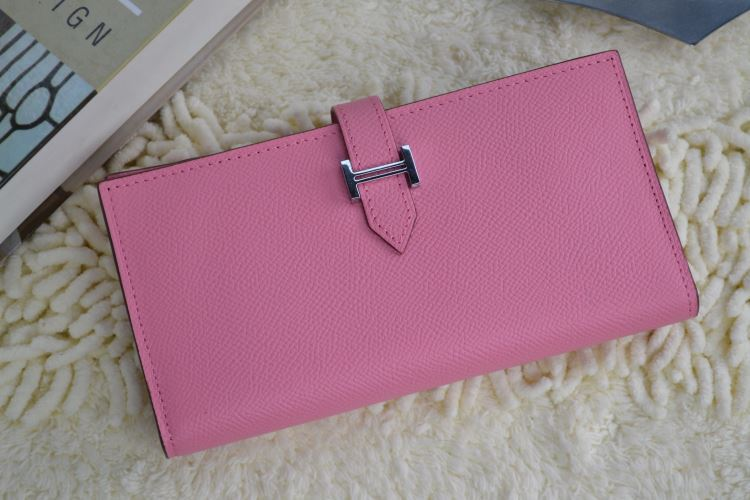 Hermes Calf Leather Wallet H005 H Pink