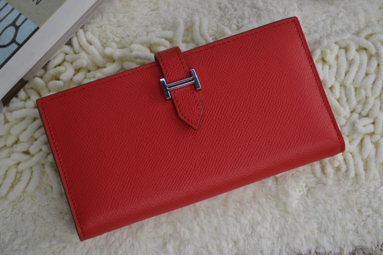 Hermes Calf Leather Wallet H005 H Red