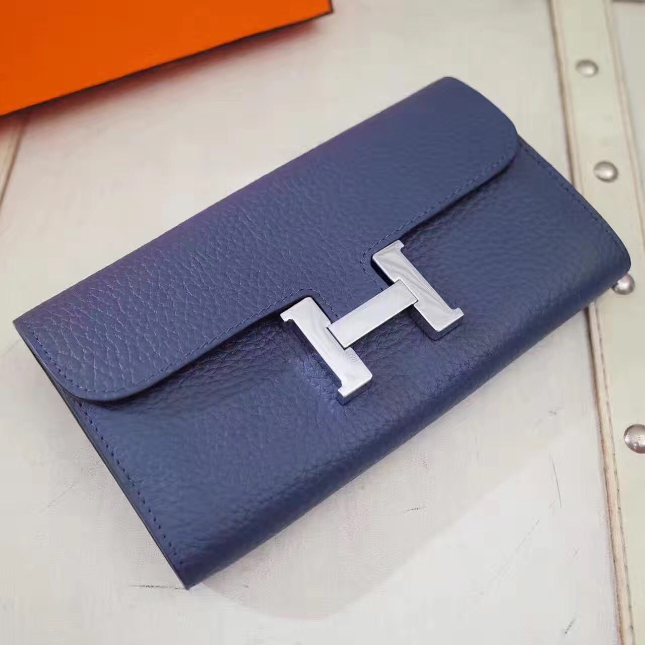 Hermes Constance Wallet Togo Leather Dark Blue