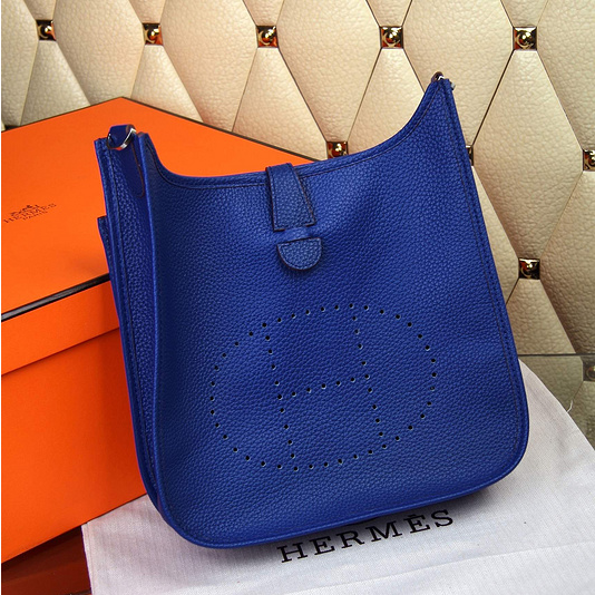 Hermes Evelyne III Togo Leather Crossbody Bag Electric Blue