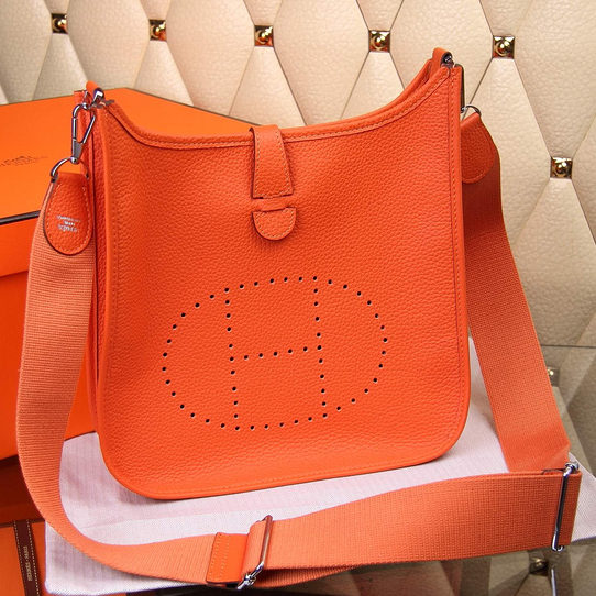 Hermes Evelyne III Togo Leather Crossbody Bag Orange