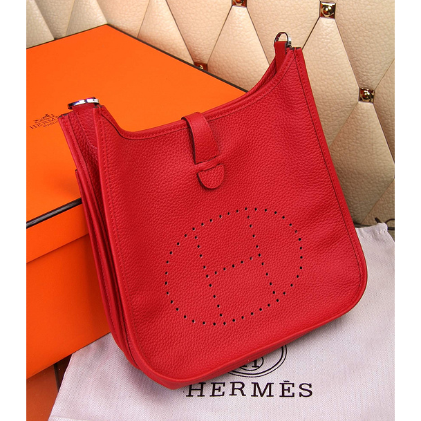 Hermes Evelyne III Togo Leather Crossbody Bag Red