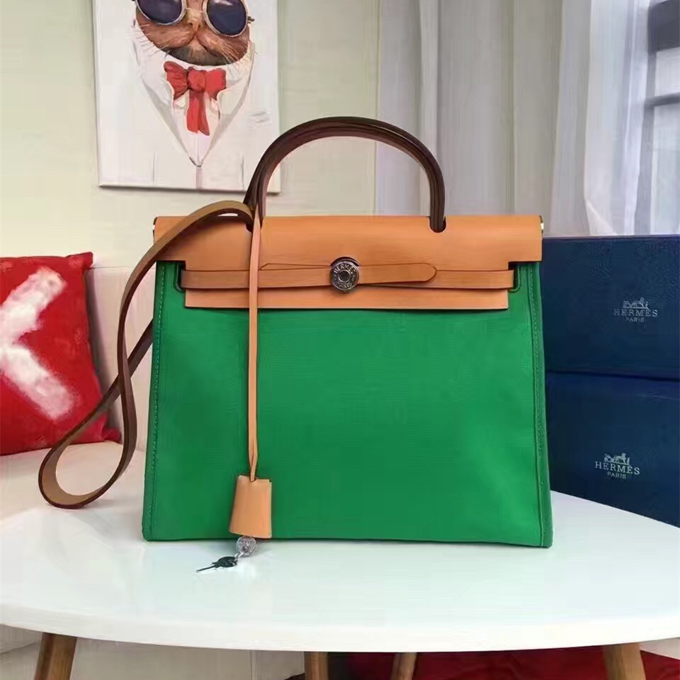 Hermes Herbag 31cm Green Canvas Bag