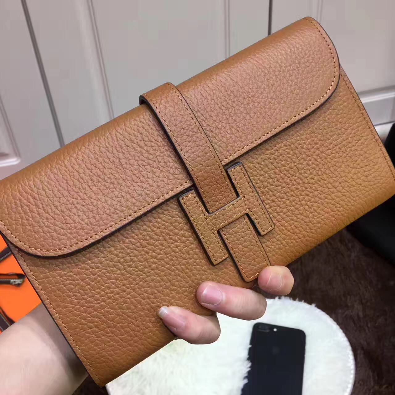 Hermes Jige Wallet Togo Leather Brown