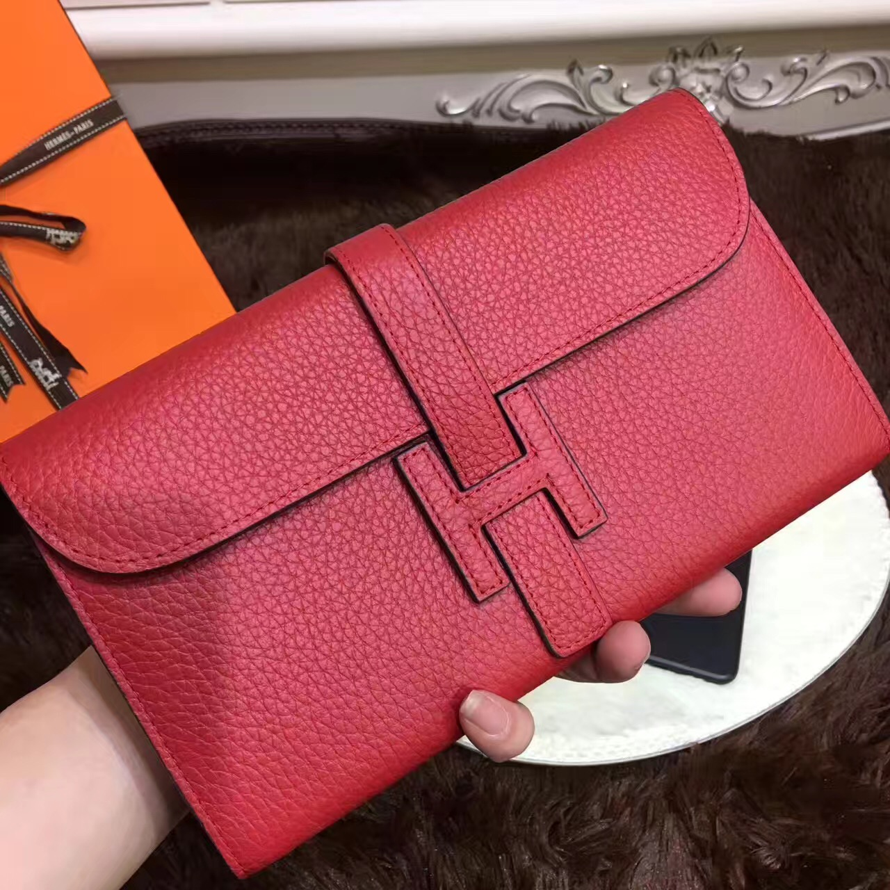Hermes Jige Wallet Togo Leather Red