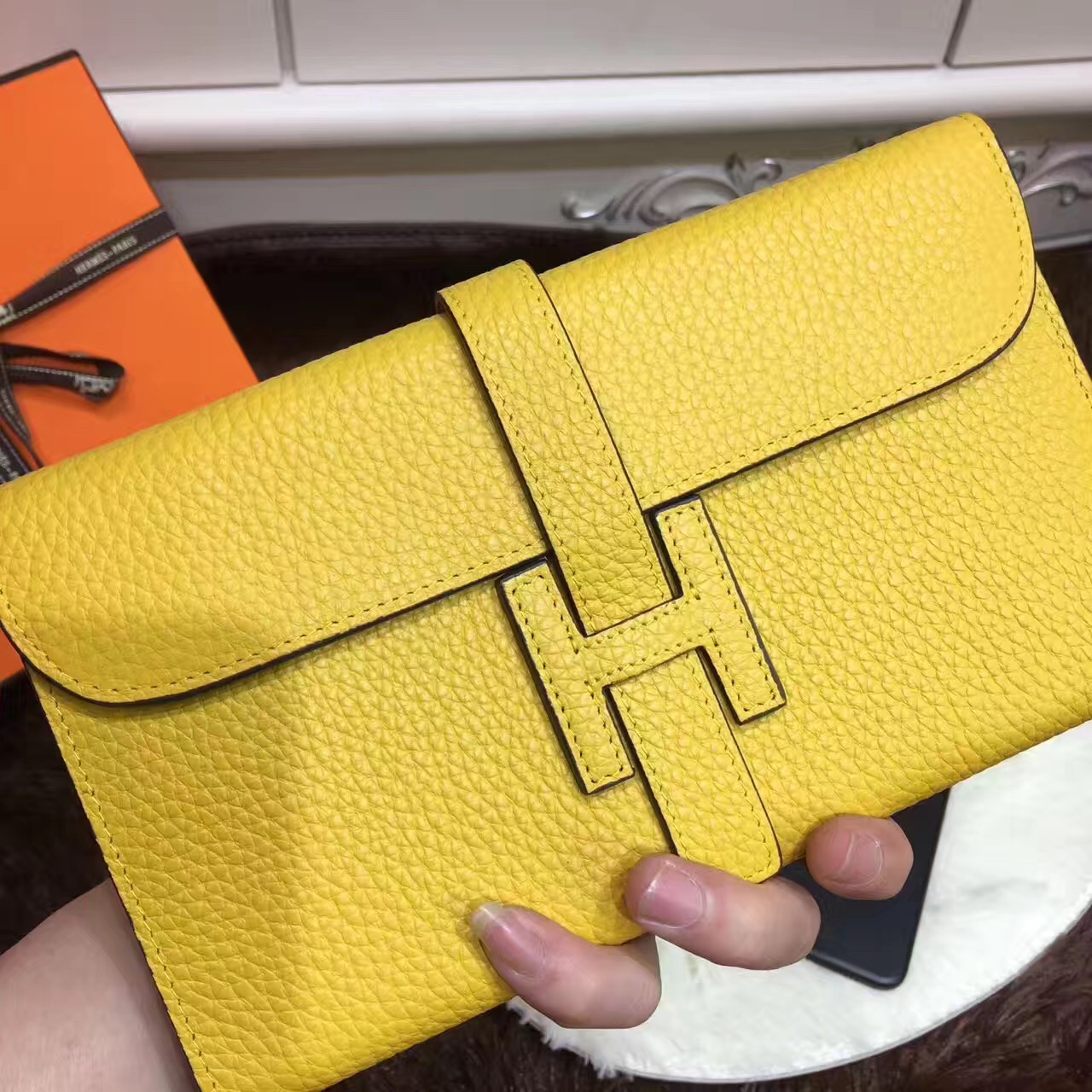 Hermes Jige Wallet Togo Leather Yellow