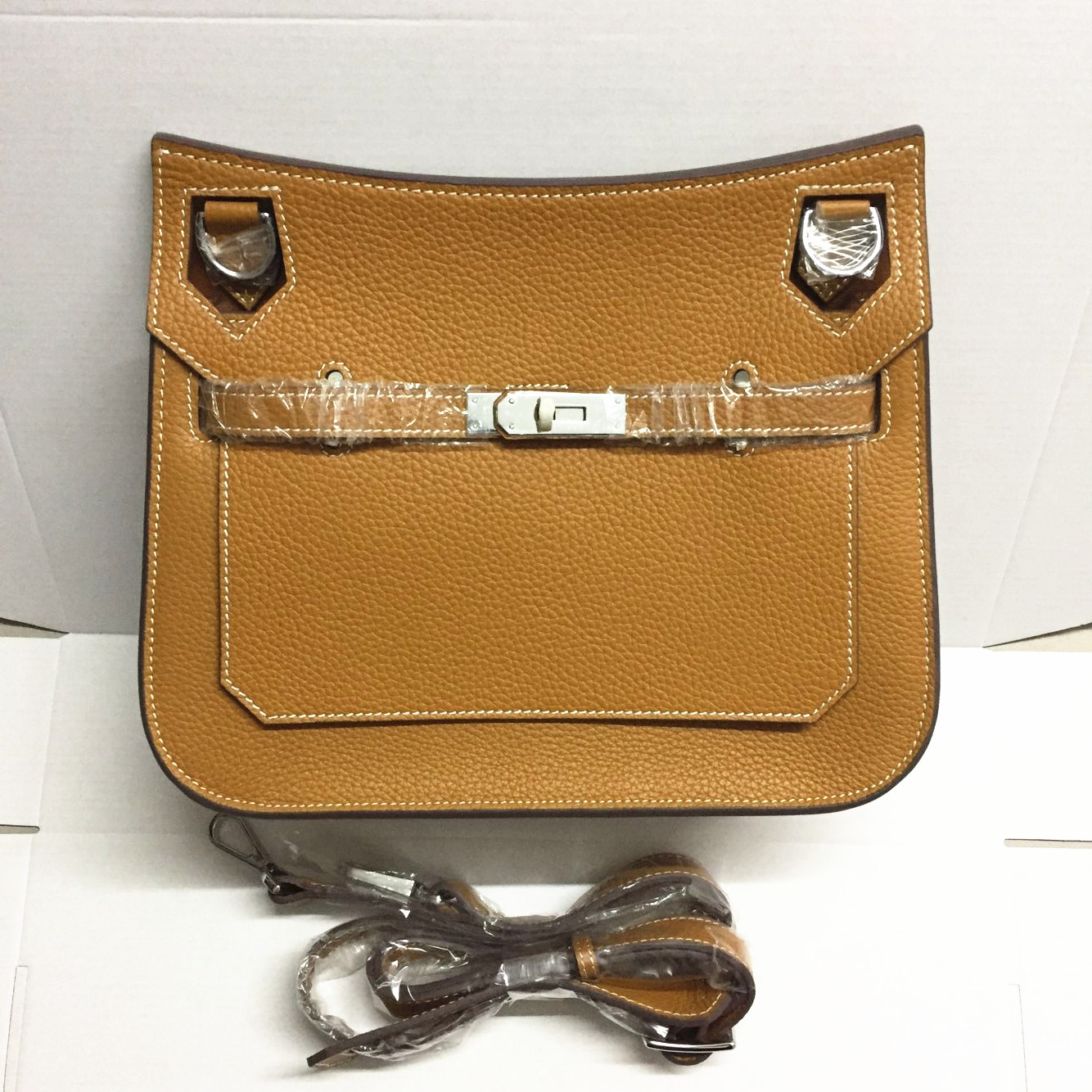 Hermes Jypsiere 28cm Crossbody Bag Brown Silver