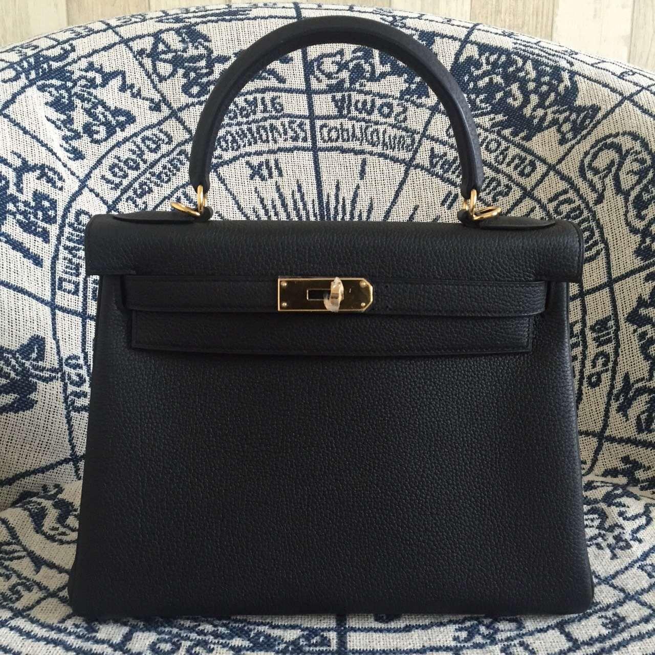 39e3954e0b45 Hermes Kelly 28cm Bag Togo Leather Black Gold