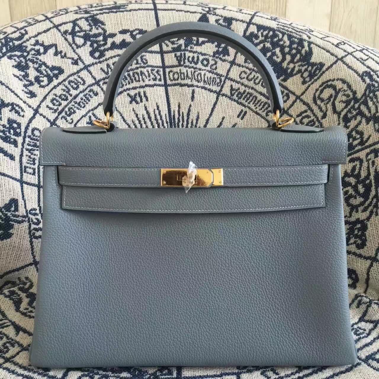 f69f7934c230 Hermes Kelly 28cm Bag Togo Leather Blue Lin Gold