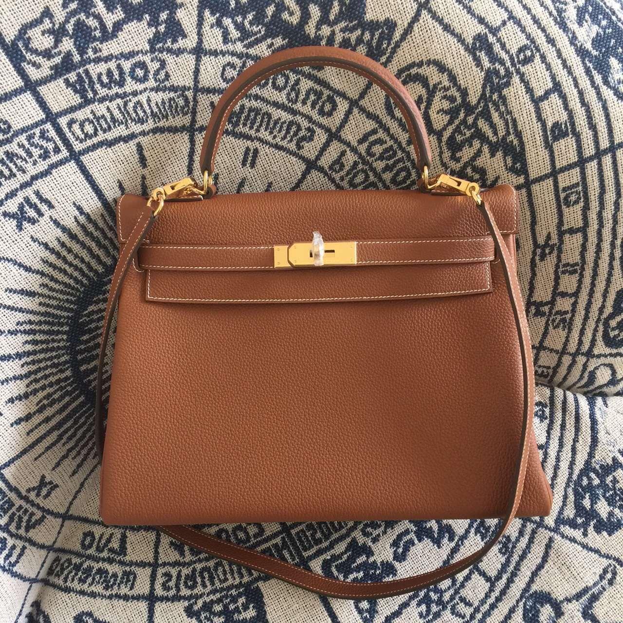 Hermes Kelly 28cm Bag Togo Leather Brown Gold Rh0533