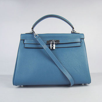 f8ef96821c Hermes Kelly 32cm Togo Leather handbag blue silver