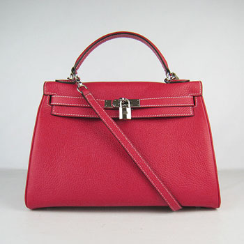 Hermes Kelly 32cm Togo Leather handbag red/silver