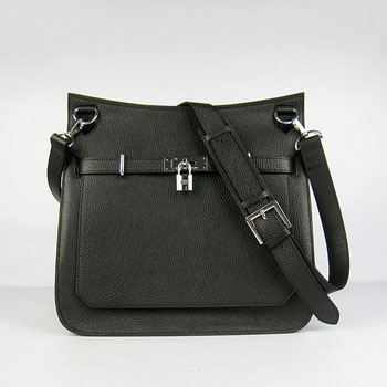 Hermes Jypsiere 28cm Crossbody Bag Black Silver
