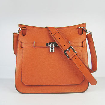 Hermes Jypsiere 28cm Crossbody Bag Orange Silver