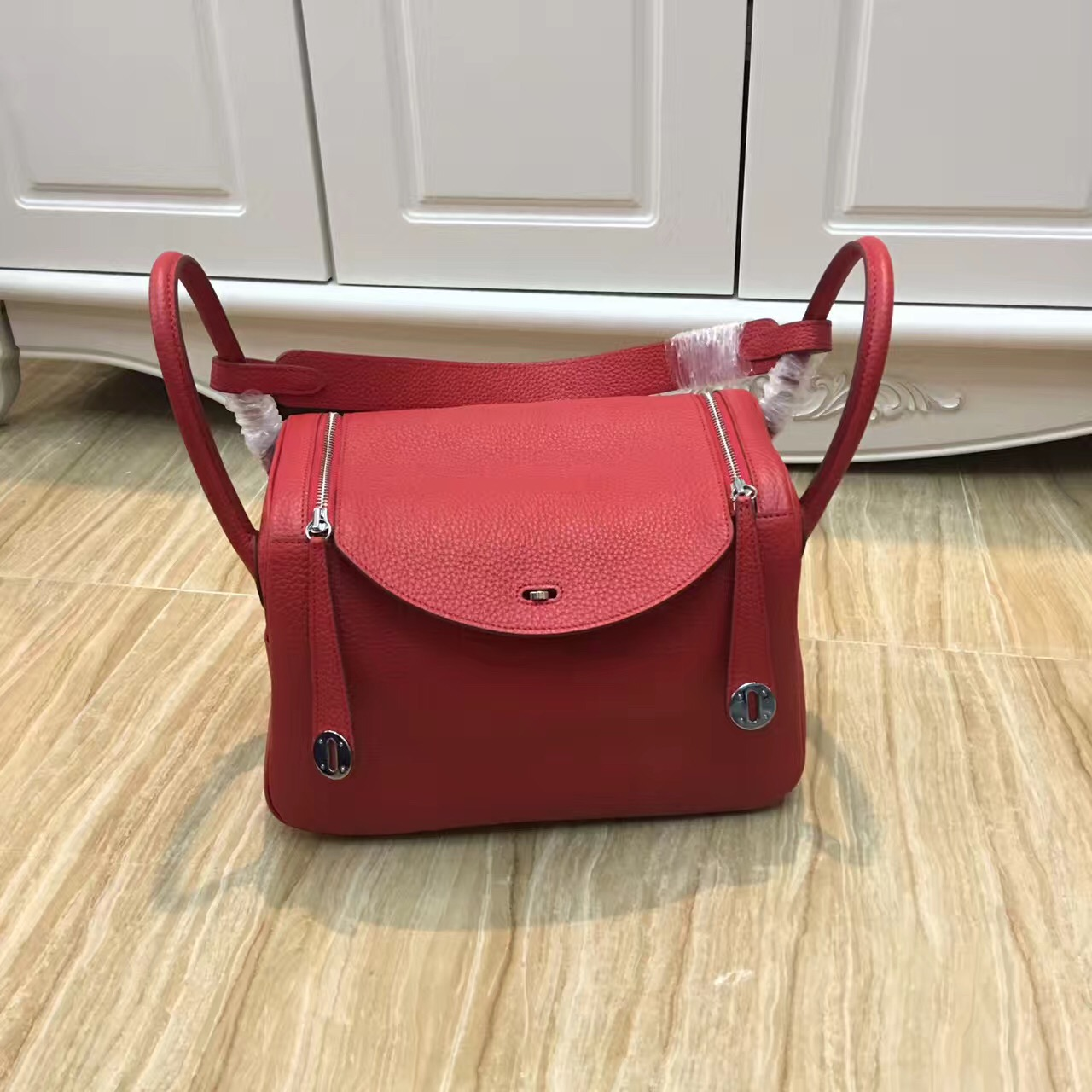 Hermes Lindy 30cm Handbag Red Silver