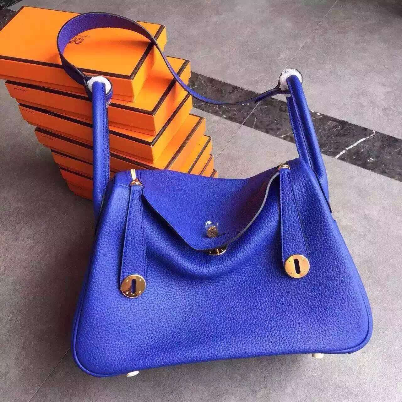 Hermes Lindy 30cm Handbag Electric Blue Gold
