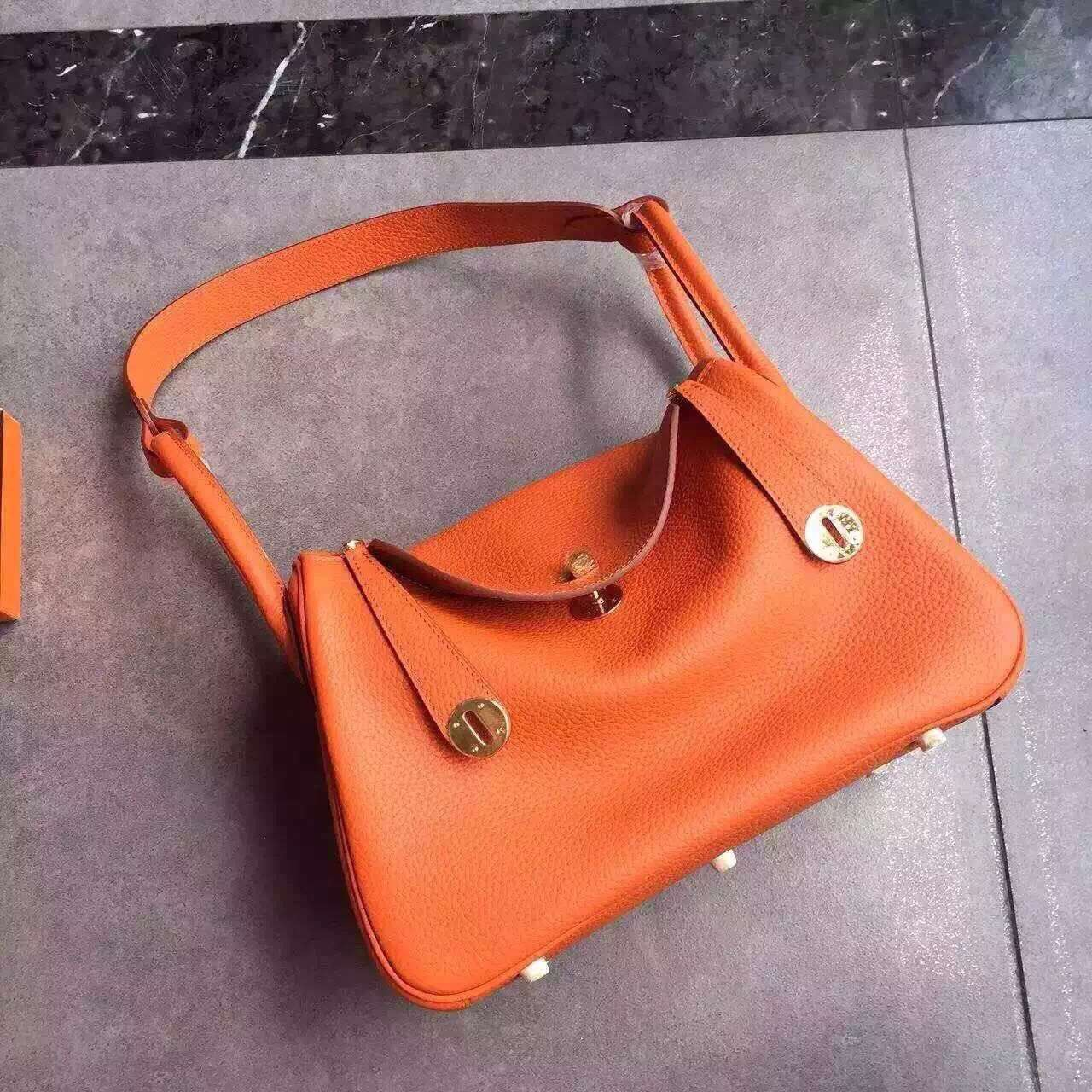 Hermes Lindy 30cm Handbag Orange Gold
