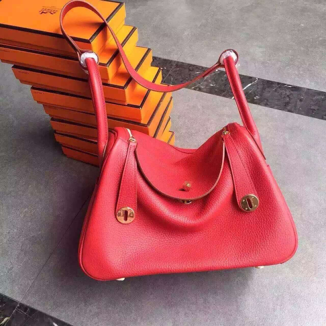 Hermes Lindy 30cm Handbag Red Gold