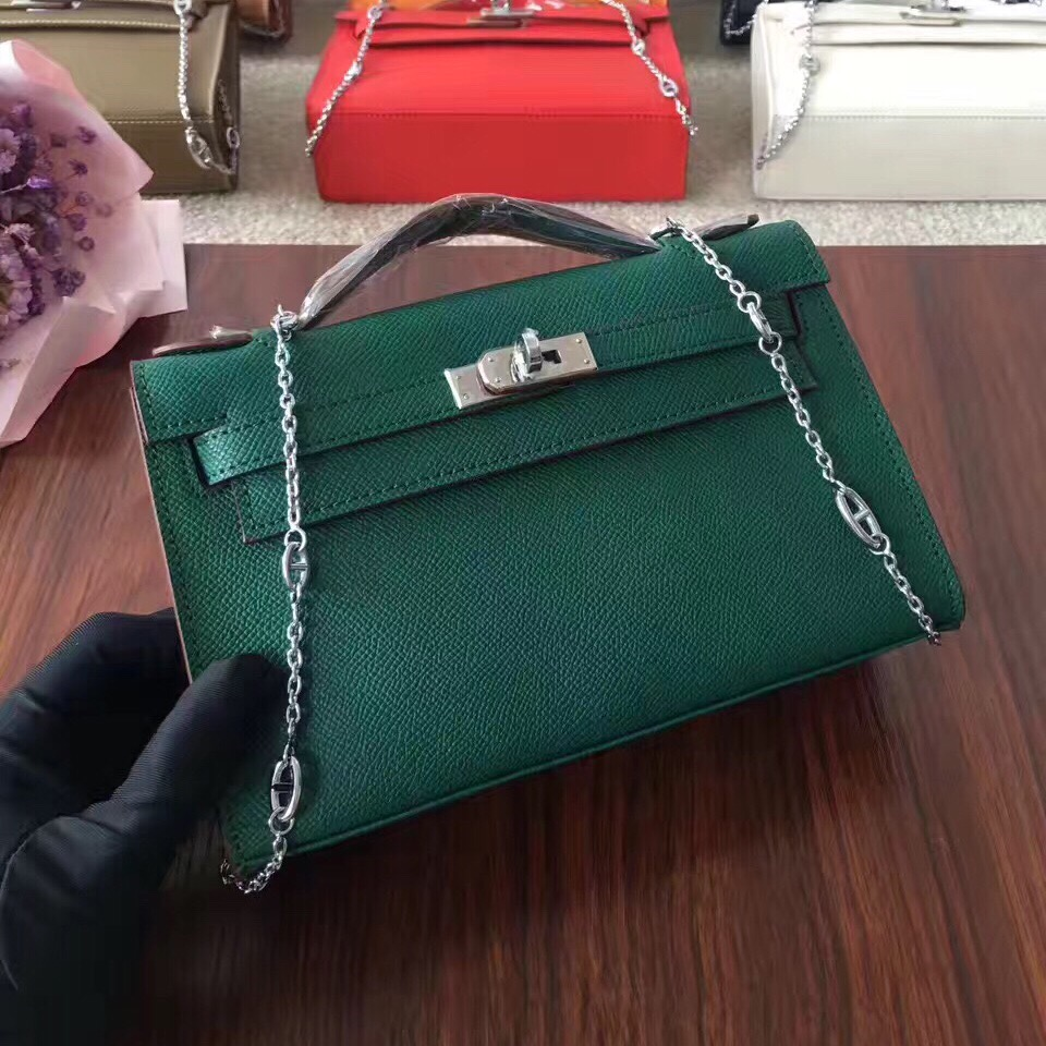 Hermes Mini Kelly 22cm Epsom Leather Green Silver With Chain Strap