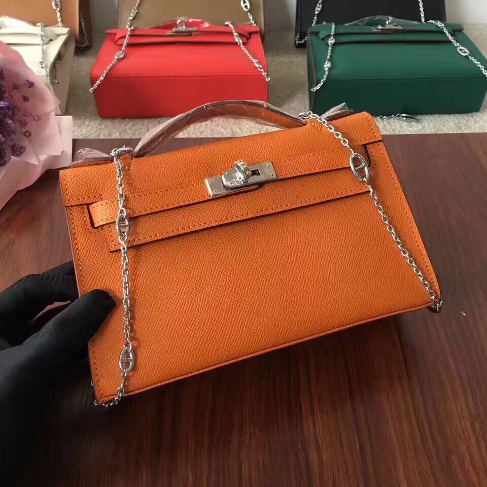 Hermes Mini Kelly 22cm Epsom Leather Orange Silver With Chain Strap