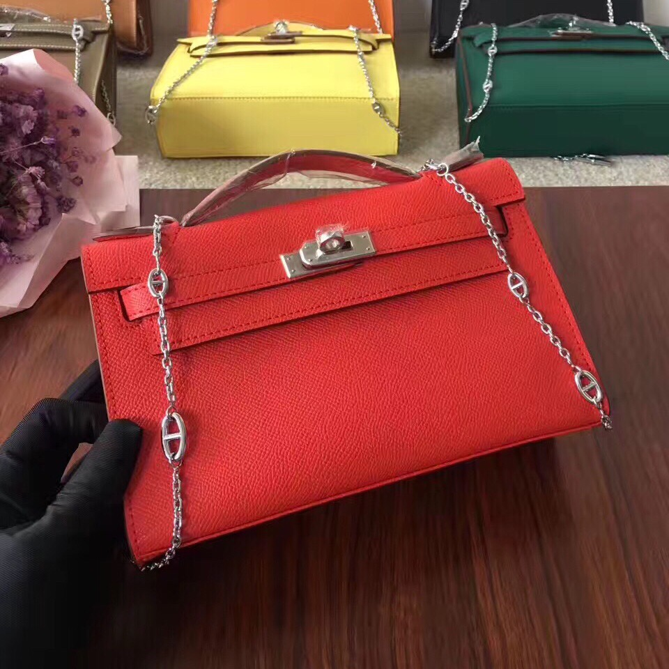Hermes Mini Kelly 22cm Epsom Leather Red Silver With Chain Strap