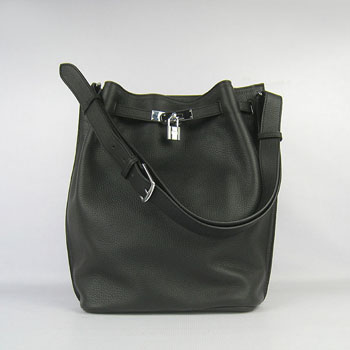 Hermes So Kelly 28cm Togo Leather Shoulder Bag Black Silver