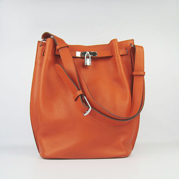 Hermes So Kelly 28cm Togo Leather Shoulder Bag Orange Silver