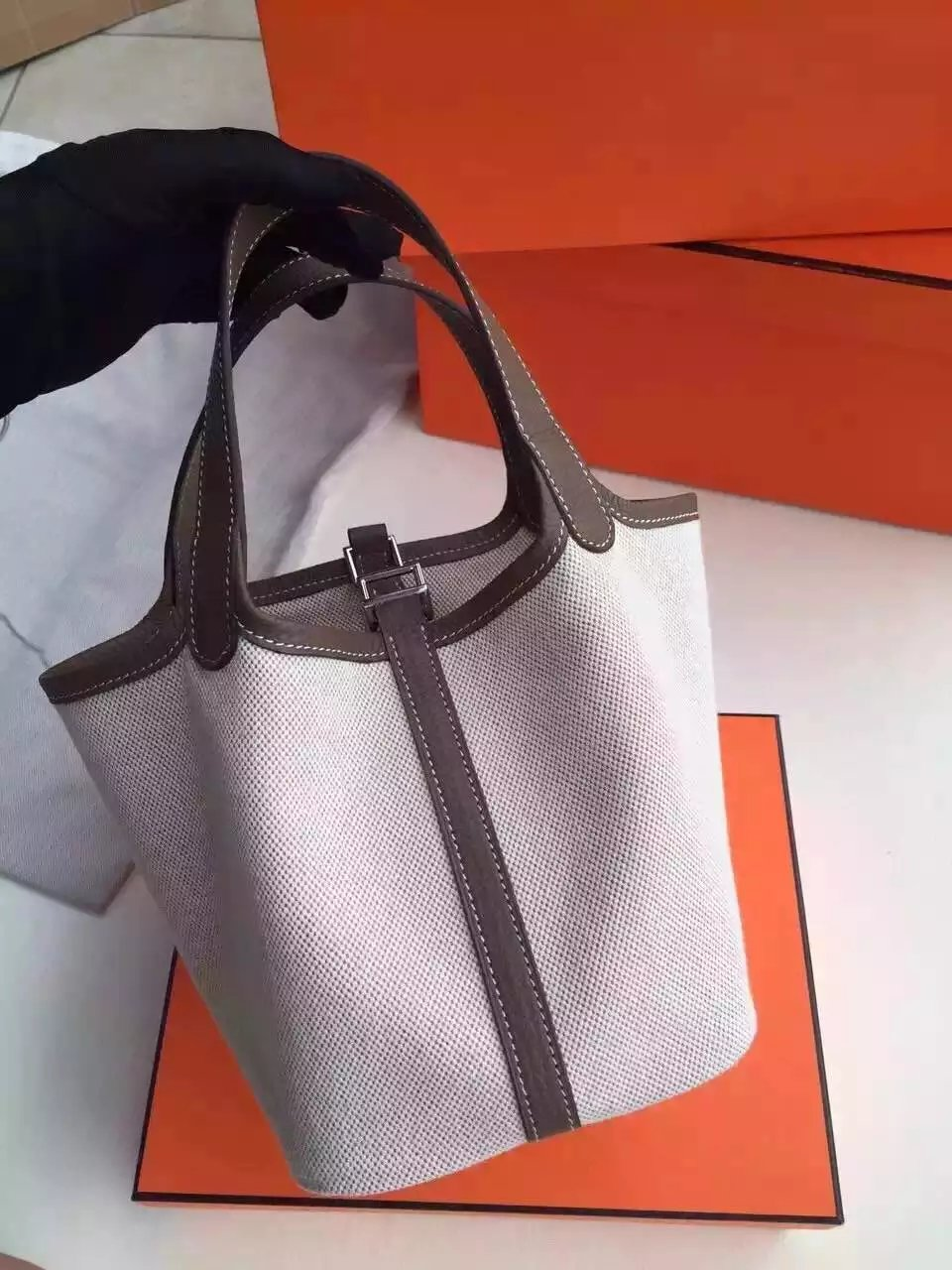 Hermes Picotin Lock Canvas Dark Grey