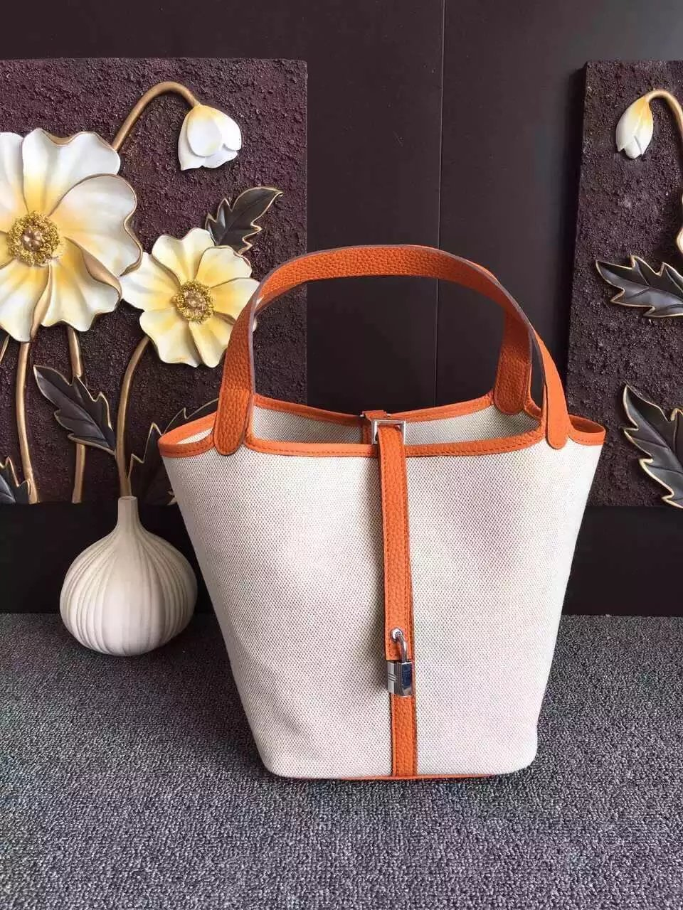 Hermes Picotin Lock Canvas Orange