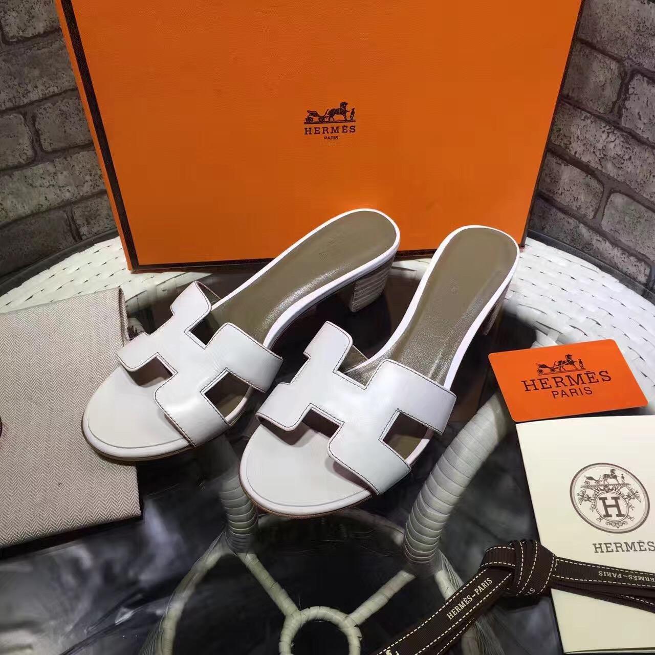 15d0c76f96e Hermes Slippers Medium Heels Calfskin Leather White [RH0632] : Buy ...