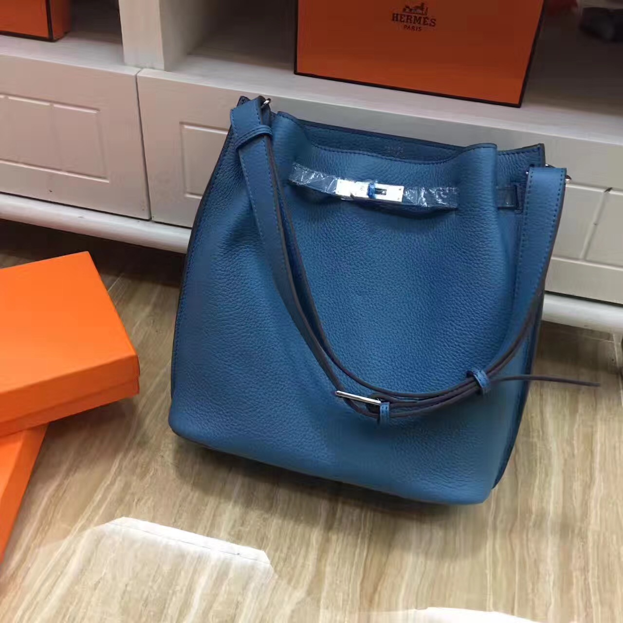 Hermes So Kelly 28cm Togo Leather Shoulder Bag Blue Silver
