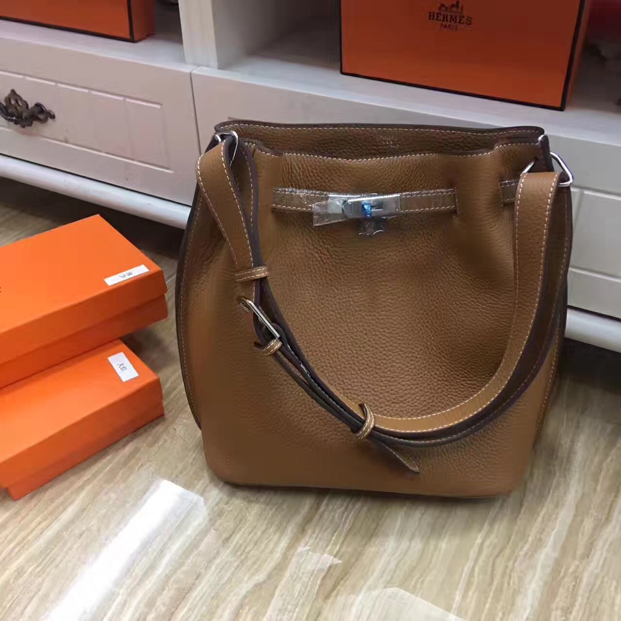 Hermes So Kelly 28cm Togo Leather Shoulder Bag Camel Silver
