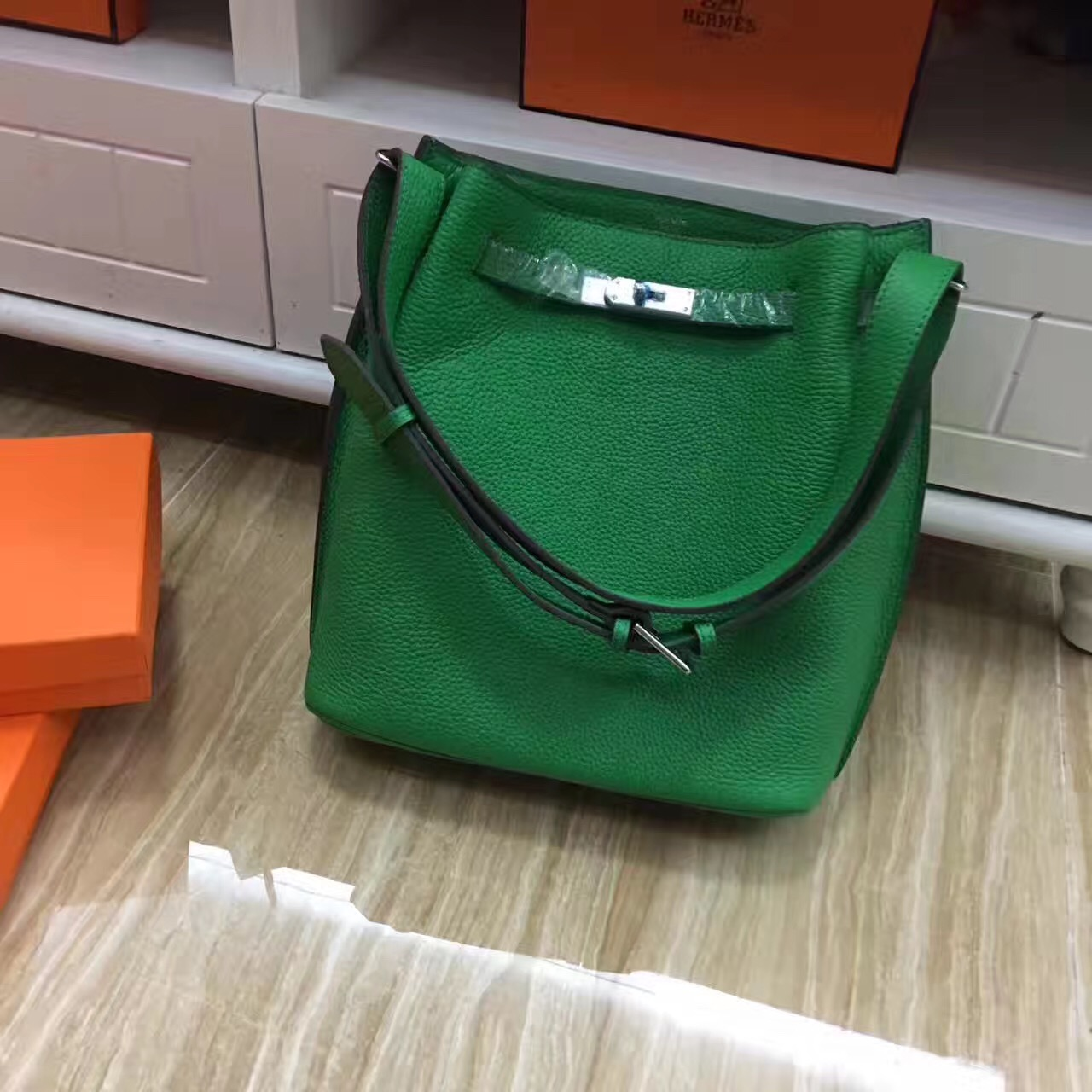 Hermes So Kelly 28cm Togo Leather Shoulder Bag Green Silver