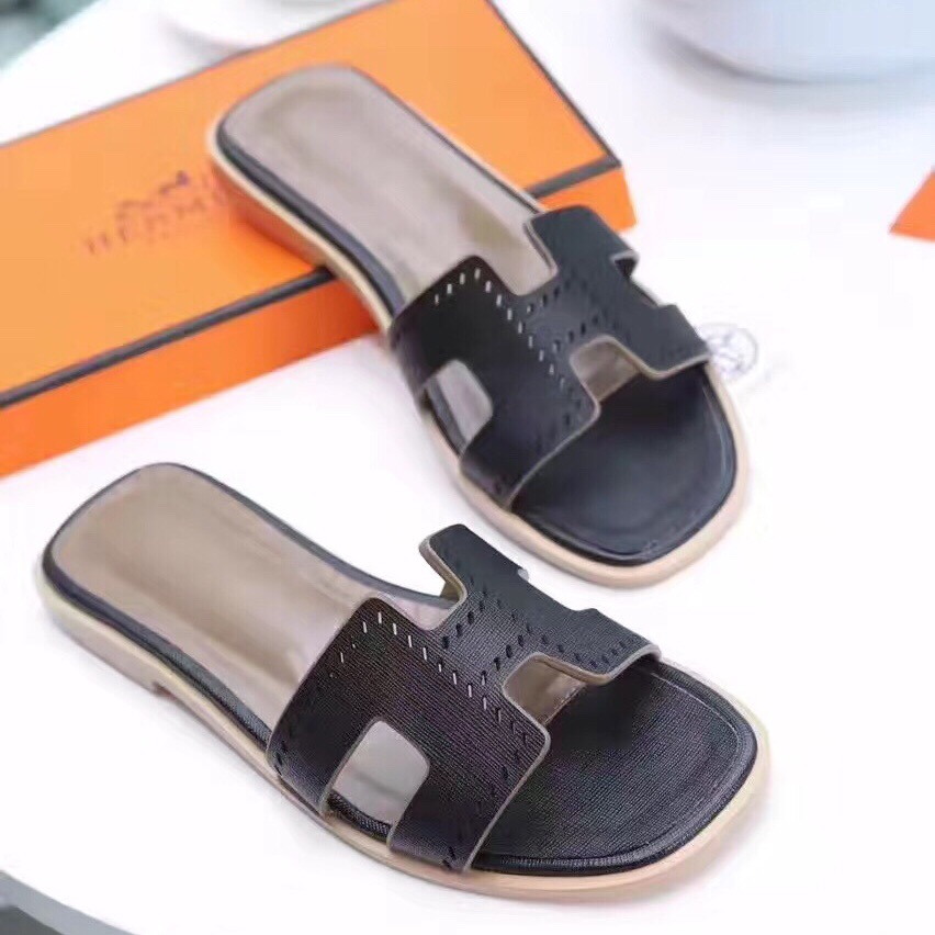 37b231366912 Hermes Women Flats Hollow H Leather Slippers Black Size 35-41