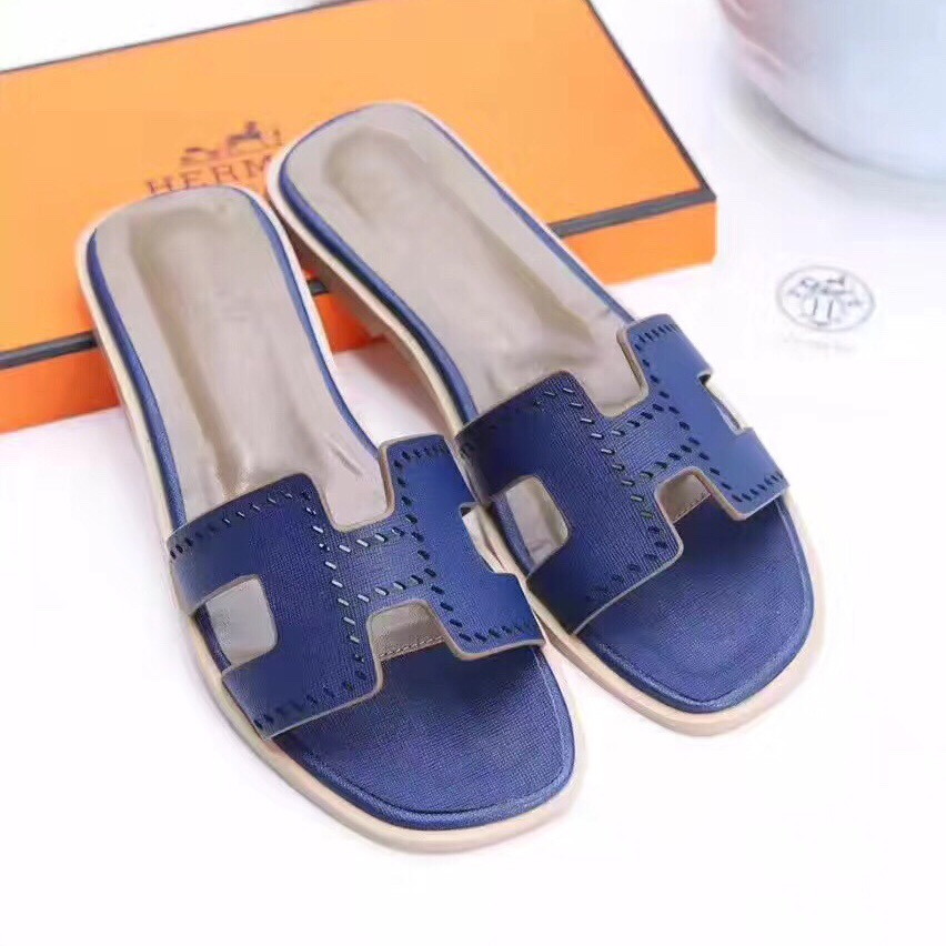 Hermes Women Flats Hollow H Leather Slippers Blue Size 35-41