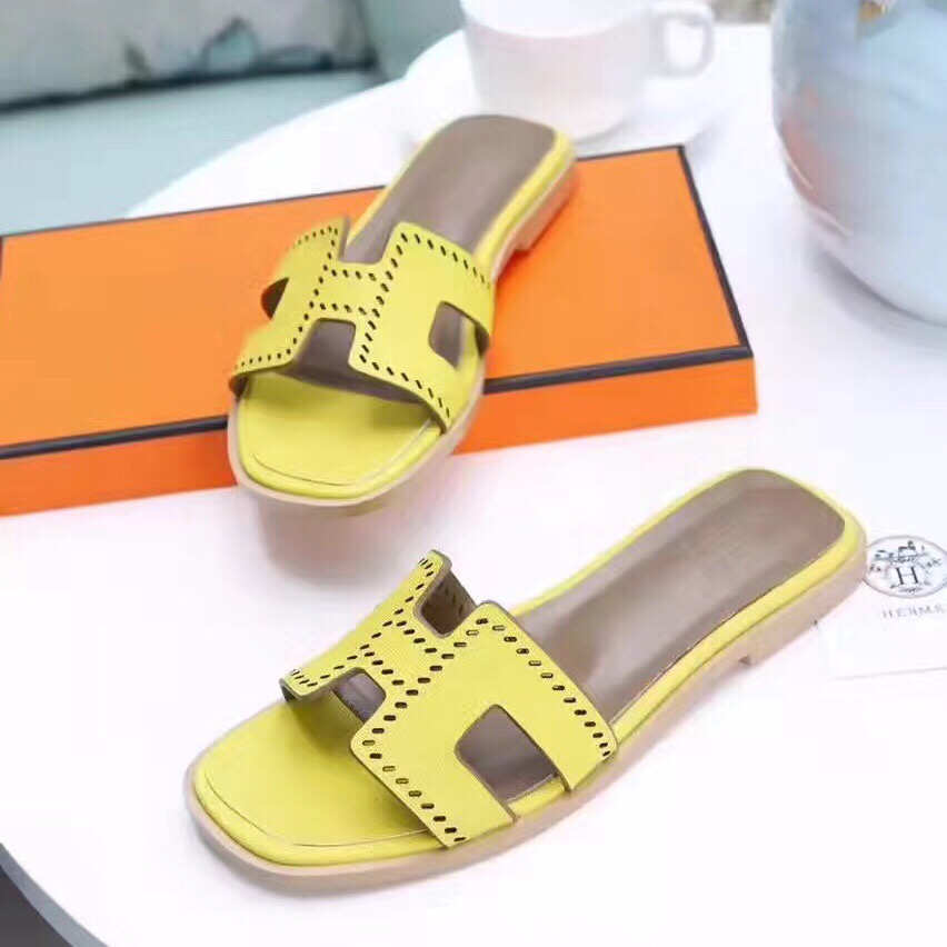 Hermes Women Flats Hollow H Leather Slippers Yellow Size 35-41
