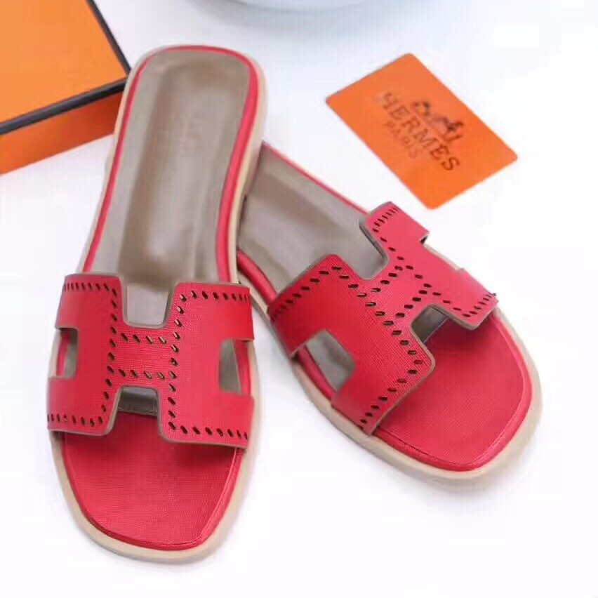 861e0b95f4e Hermes Women Flats Hollow H Leather Slippers Red Size 35-41 [RH0649 ...