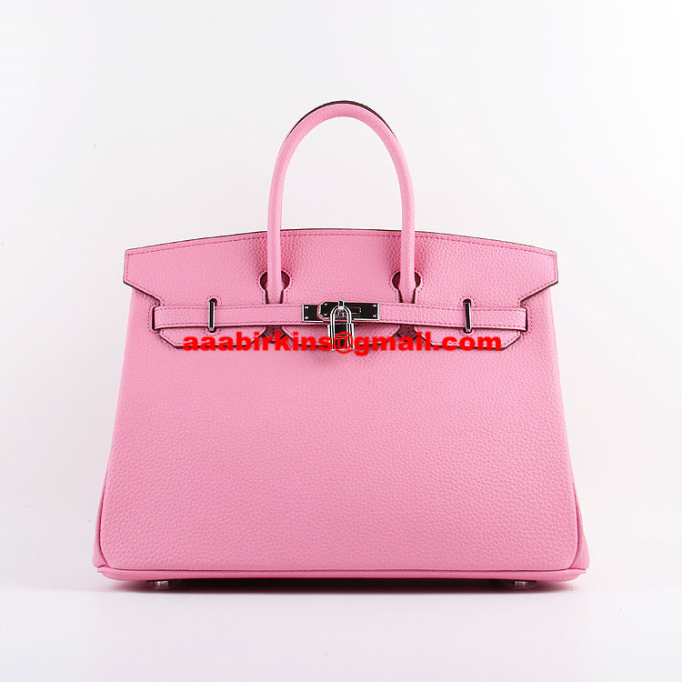 Hermes Birkin 35cm Togo leather Handbags Cherry Pink Silver