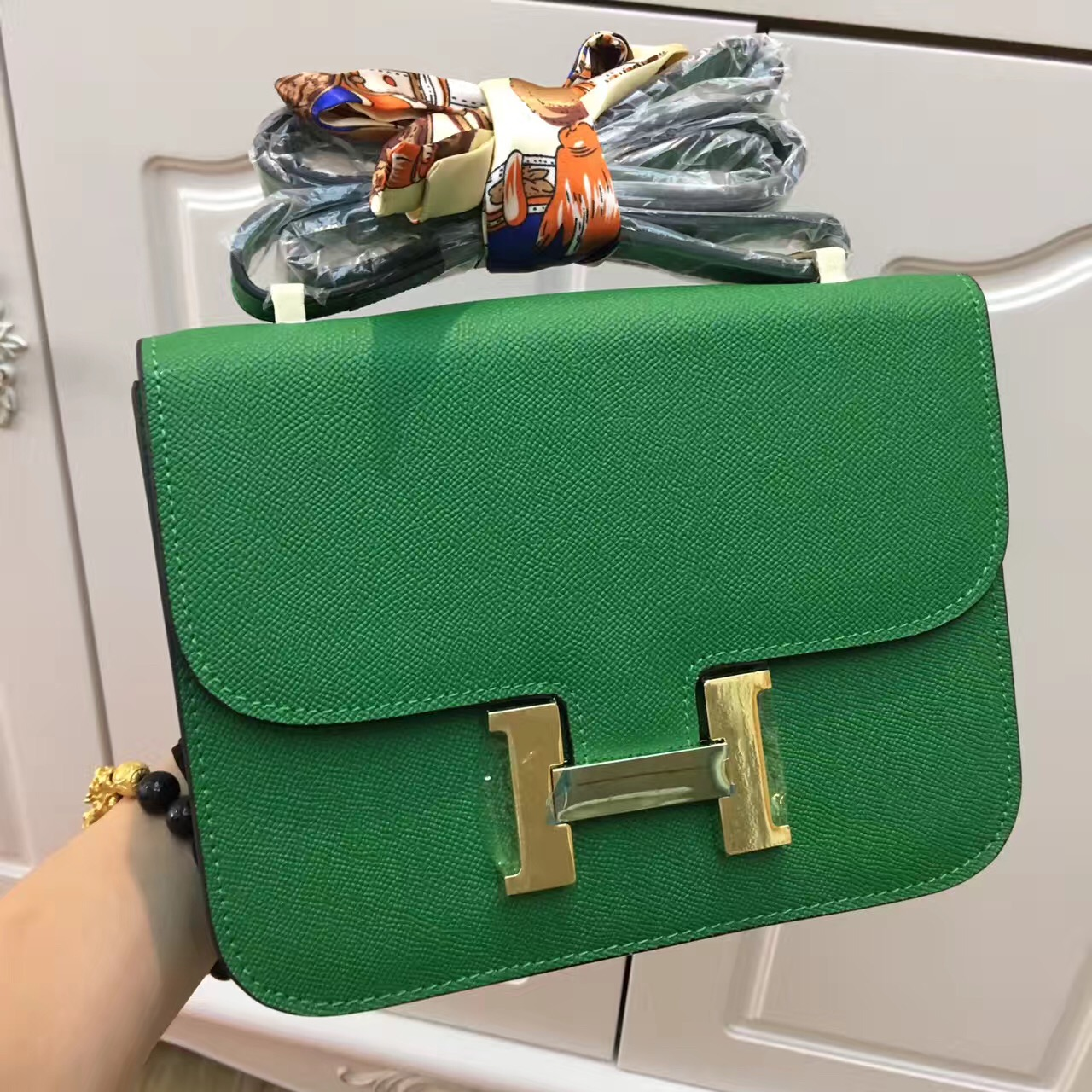 Hermes Constance Bag 23cm Epsom Leather Green Gold