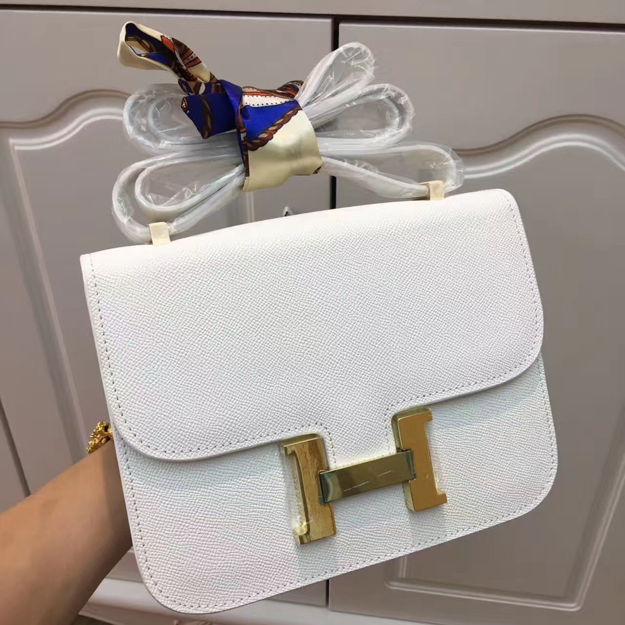 Hermes Constance Bag 23cm Epsom Leather White Gold