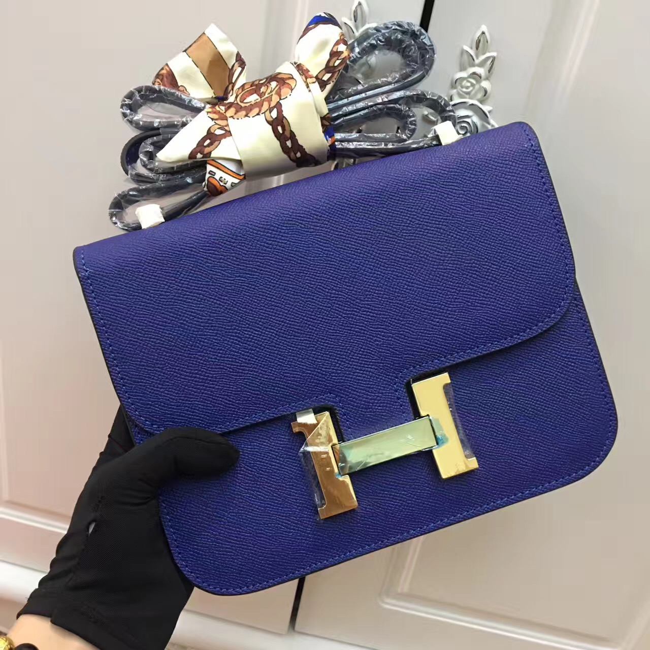 Hermes Constance Bag 23cm Epsom Leather Electric Blue Gold