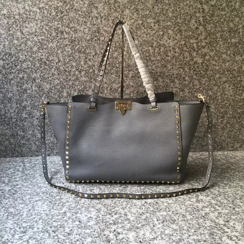 Valentino Rockstud Medium Tote Grey Gold