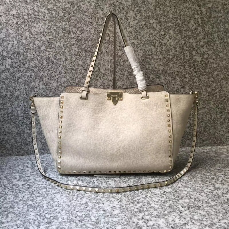 Valentino Rockstud Medium Tote White Gold