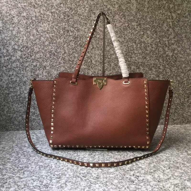 Valentino Rockstud Medium Tote Brown Gold