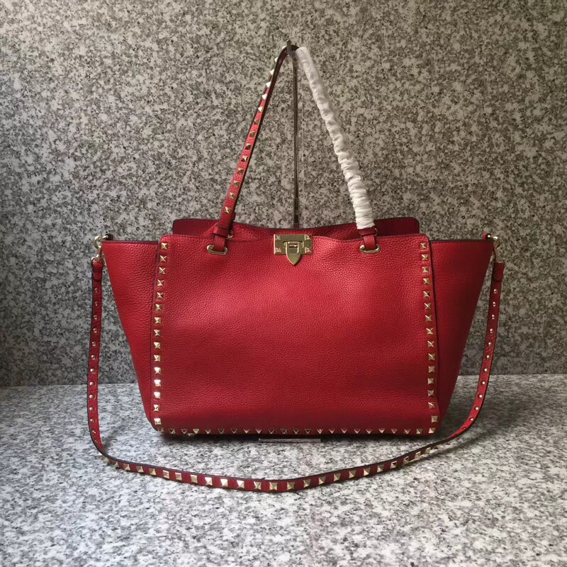 Valentino Rockstud Medium Tote Red Gold